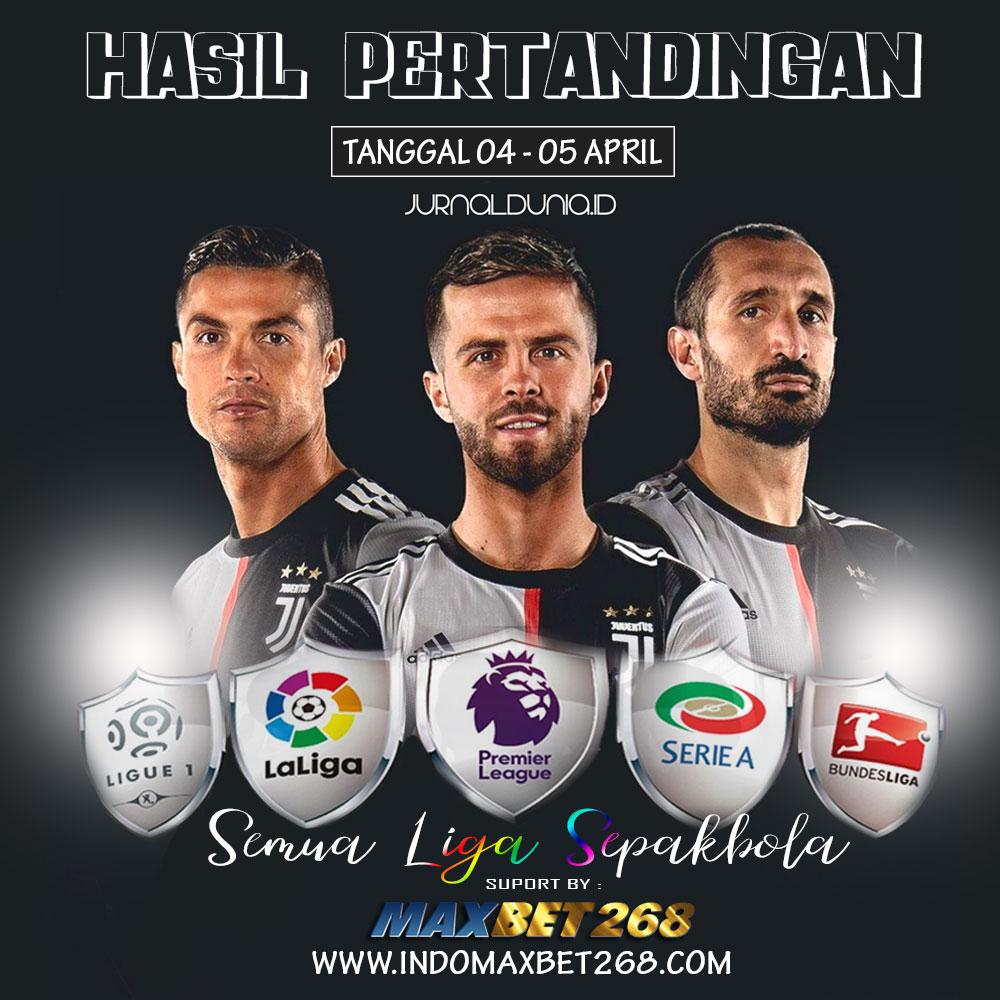 Hasil Pertandingan Sepakbola Tgl 04 - 05 April 2020