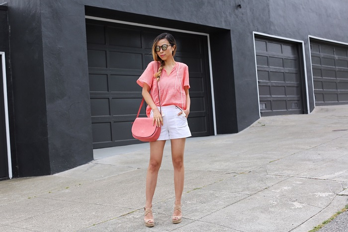 Joe fresh tassel blouse, joe fresh zipper short, le specs sunglasses, saddle bag, tory burch wedge sandals, summer outfit, san francisco fashion blog, san francisco street style