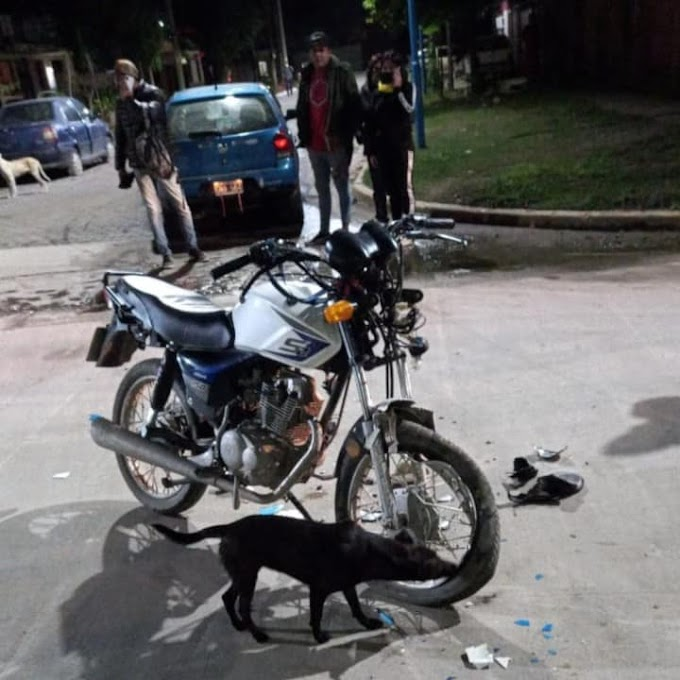 Juan Bautista Alberdi: Choque entre un auto y una motocicleta