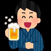 浴衣でビールを飲む人のイラスト(男性)