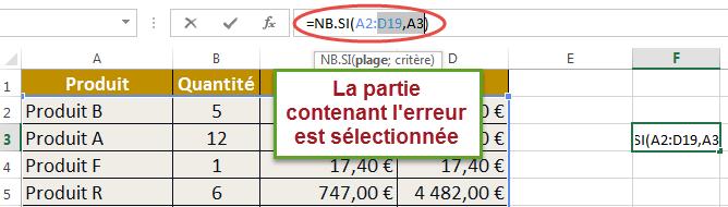 Erreur sélectionnée par Excel