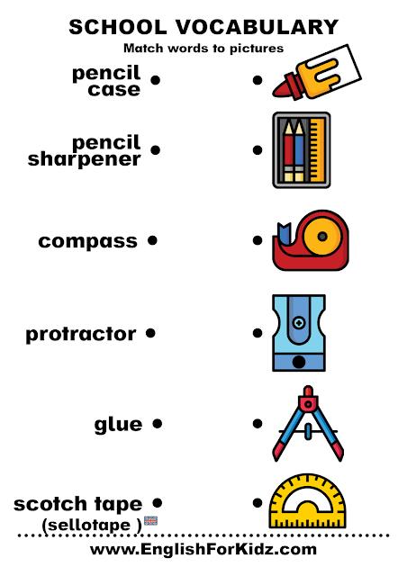 Free school supplies vocabulary worksheet for ESL