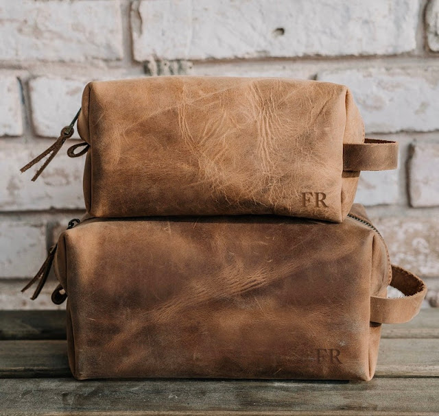 leather personalized toiletry bag