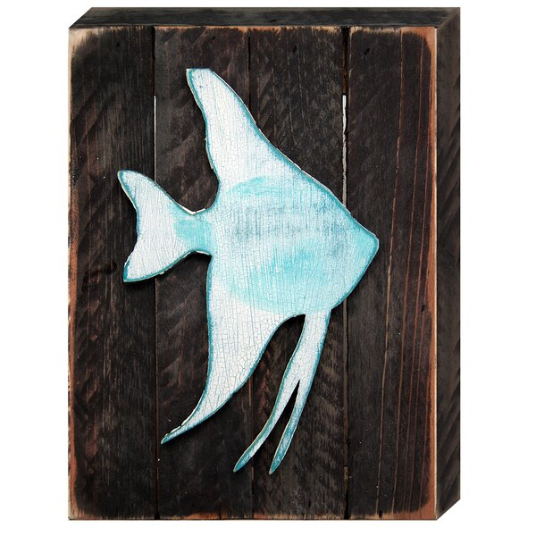 Tropical Fish Art on Reclaimed Wooden Board Wall Decor