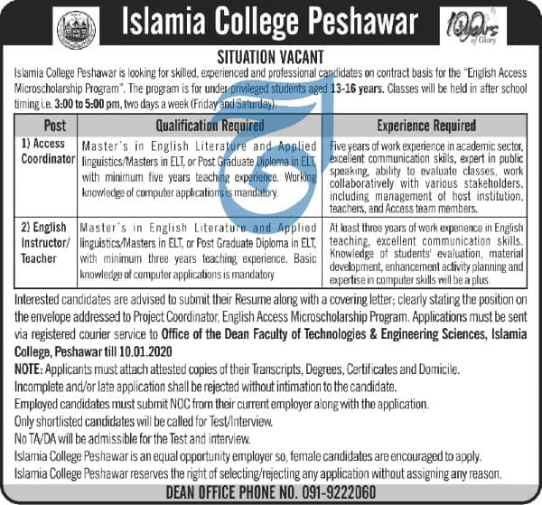 Jobs in Islamia College peshawar Latest 2020