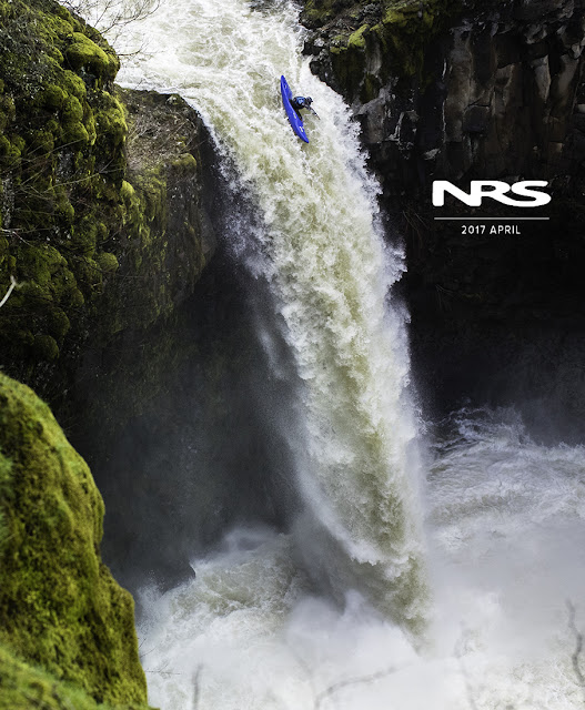 Alec Voorhees drops a water fall in his kayak in washington state.