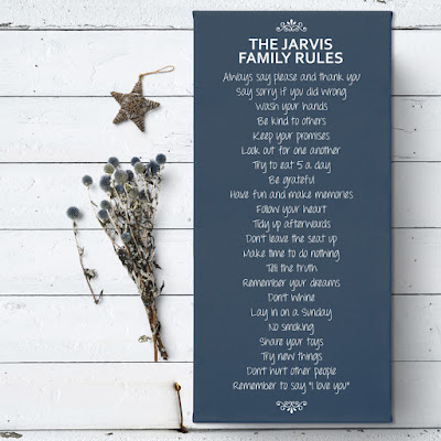 Personalised 'Family Rules' Canvas - any colour