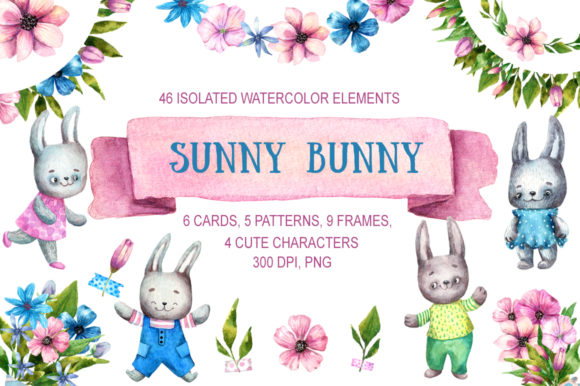 Sunny Bunny Watercolor Clip Art Set Graphic