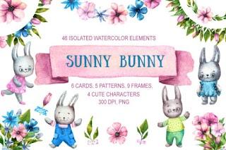 Sunny Bunny Watercolor Clip Art Set Graphic