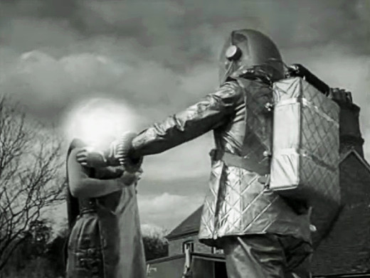 Vy (Vanda Godsell) gets zapped by a robot in The Earth Dies Screaming, 1964