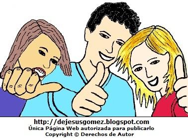 Dibujo de jóvenes elegres por el Día de la Juventud o Día Internacional de la Juventud. Dibujo de jóvenes hecho por Jesus Gómez
