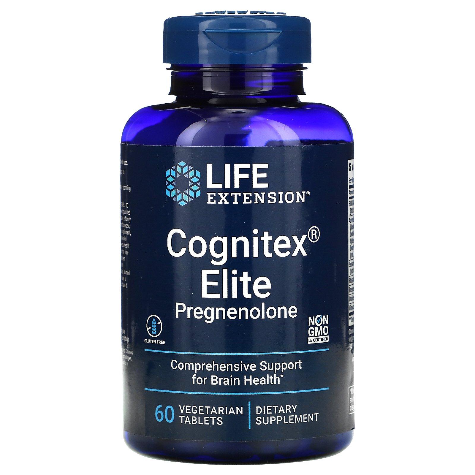 Life Extension, Прегненолон Elite Cognitex, 60 вегетарианских таблеток