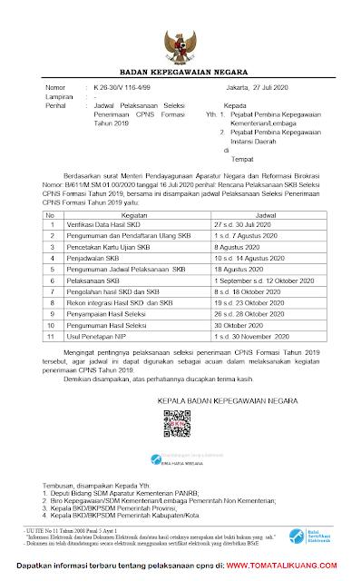 Surar-Kepala_BKN-Nomor-k-26-30-v-116-4-99 pdf tentang jadwal pelaksanaan skb cpns tahun 2020 formasi cpns 2019 tomatalikuang.com