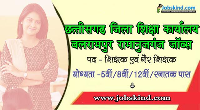 DEO Balrampur Ramanujganj Recruitment 2020 Chhattisgarh Govt Job Advertisement Govt. English Medium School Balrampur Ramanujganj Recruitment All Sarkari Naukri Information Hindi.