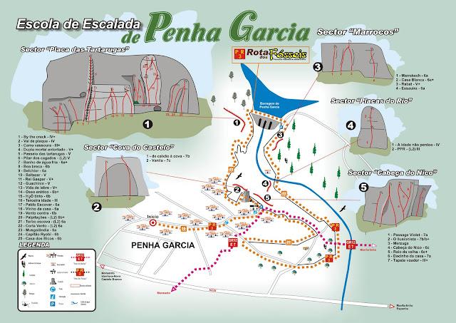Sectores y vías de escalada en Penha García