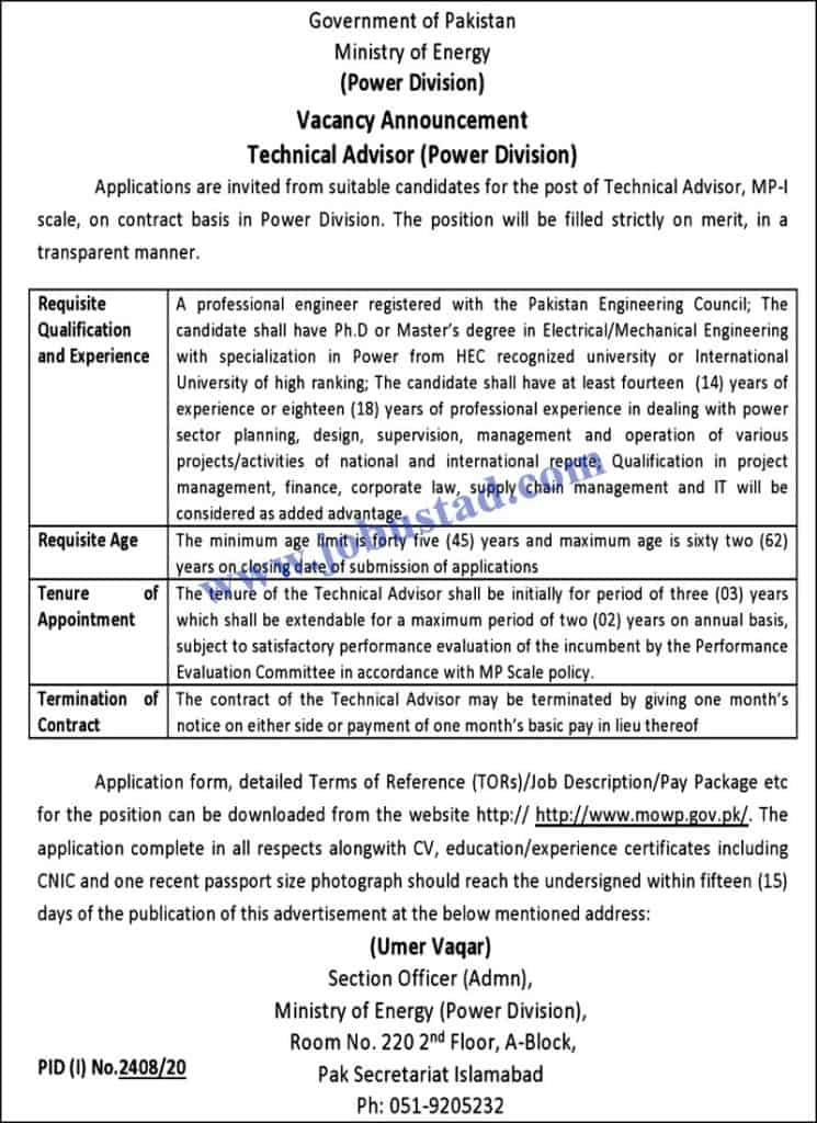 Jobs in Ministry of Energy power Division Pakistan Nov 2020
