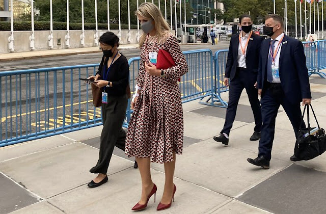 Queen Maxima wore a scale-print silk twill midi dress from Valentino, at the 76th United Nations General Assembly in New York