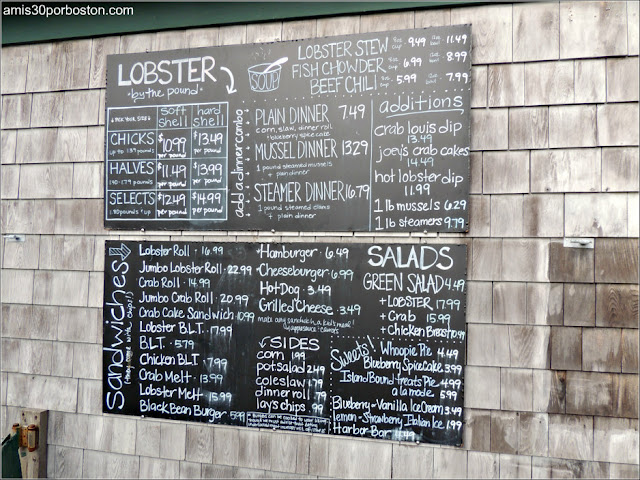 Menú de Thurston's Lobster Pound en Maine
