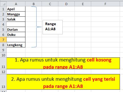 Soal Excel Menghtitung Cell Kosong dan Tidak Kosong