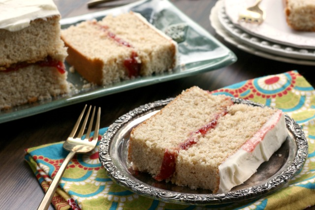 Whole Grain Washington Pie, a beautifully-textured sponge cake made with stone ground flour.