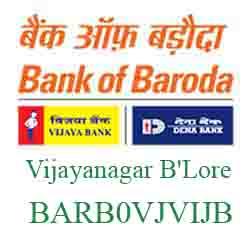 Vijaya Baroda Bank Vijayanagar B'Lore Branch New IFSC, MICR