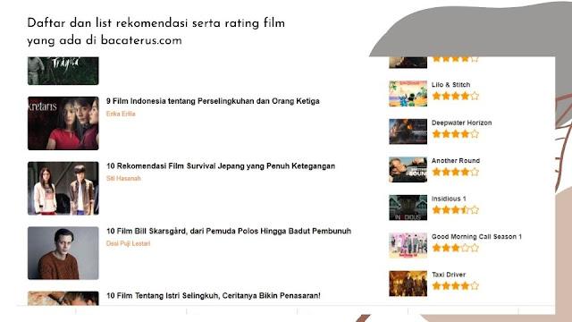 Daftar list dan rekomendasi film di bacaterus.com