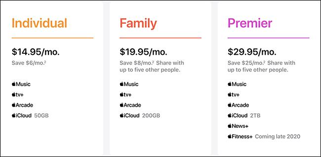 """خطط Apple One """"الفردية"""" و """"العائلية"""" و """"Premier"""" على الموقع الإلكتروني."""