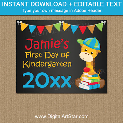 first day of kindergarten chalkboard sign printable