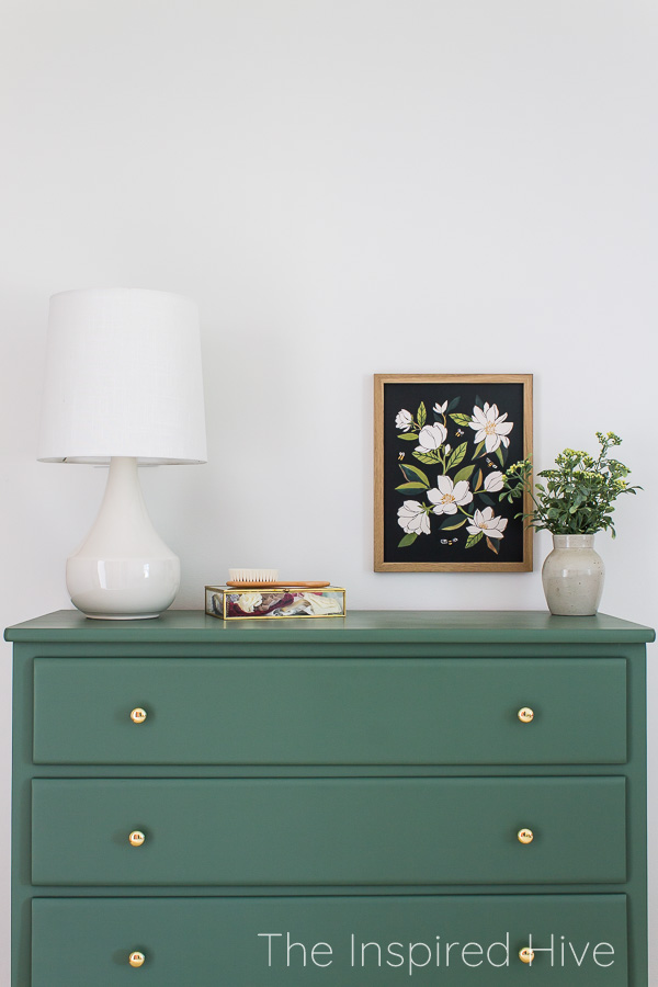 Green painted dresser in SW Basil, brass hardware, modern lamp, magnolia print