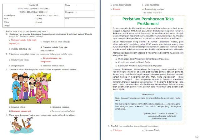 Soal UTS kelas 5 SD/MI Tema 7 Subtema 2-3