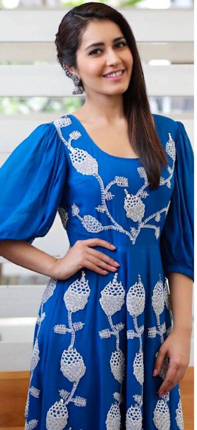 Telugu Actress Rashi Khanna Hot Looking Photo Shoot In Blue Dress 2018