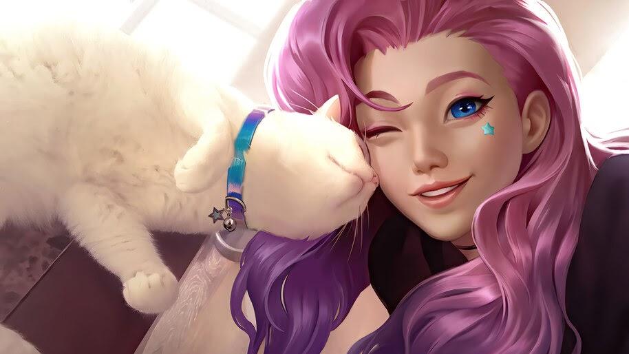 Seraphine, with Cat, LoL, 4K, #7.2687