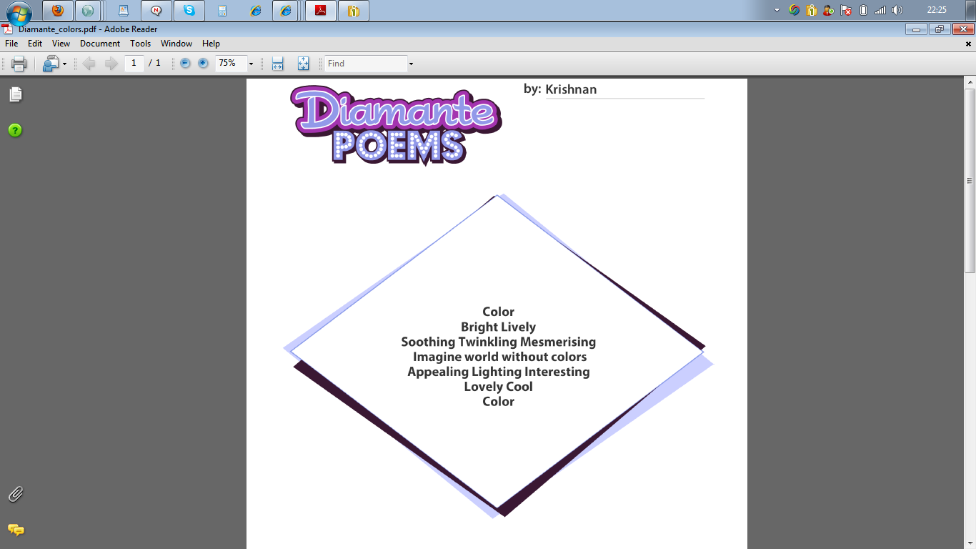 Diamante Poems Images