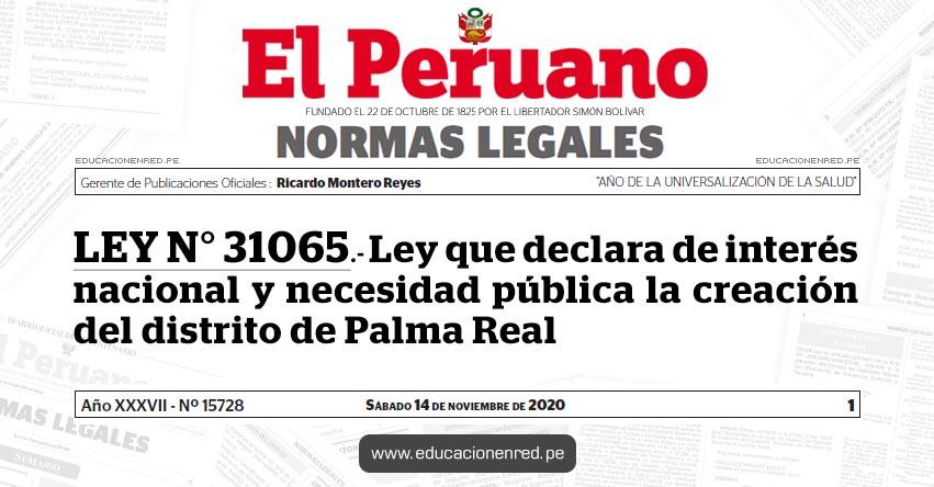 LEY N° 31065.- Ley que declara de interés nacional y necesidad pública la creación del distrito de Palma Real