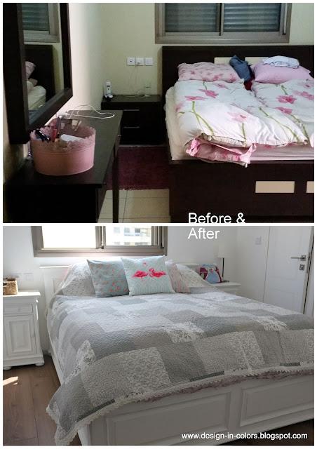 חדר שינה כפרי לפני ואחרי