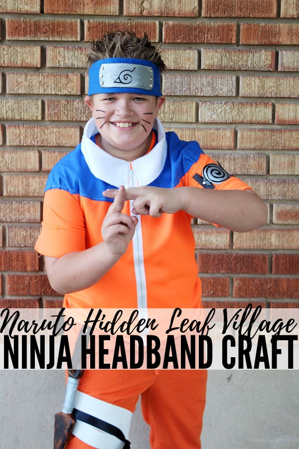 Make the perfect Naruto Hidden Leaf Village Ninja Headband for costume or cosplay. Tween dressed as Naruto for comic convention or Halloween costume.