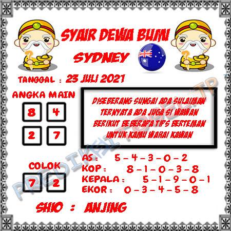 Prediksi Dewa Bumi Sydney Jumat 23 Juli 2021