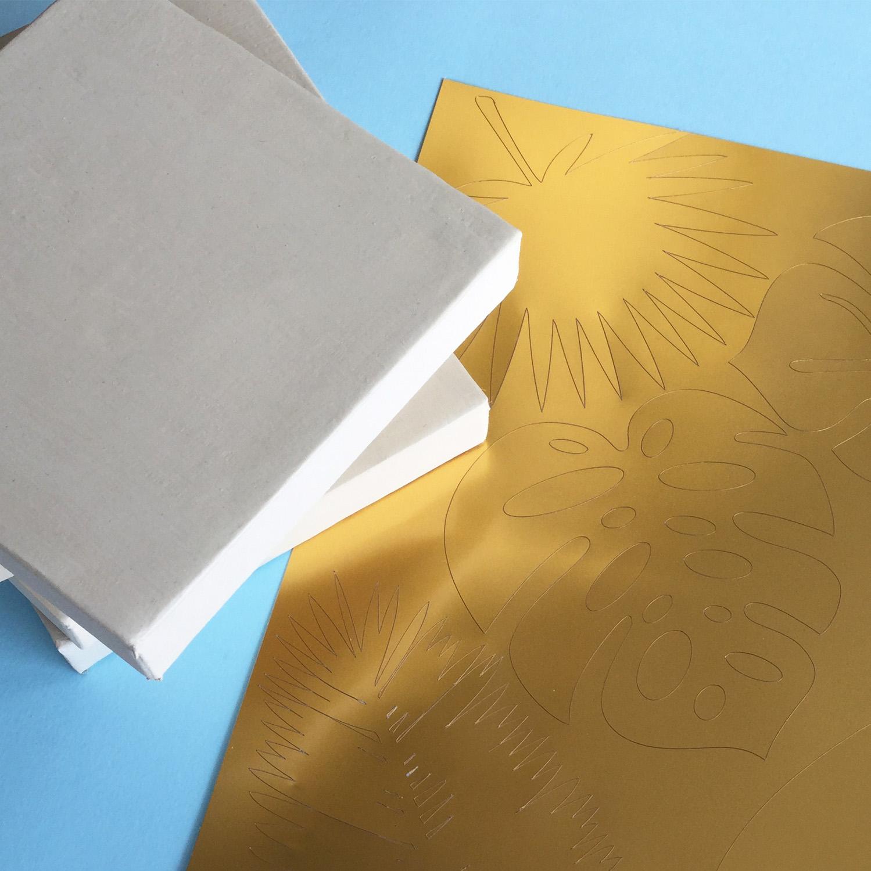 image regarding Silhouette Printable Gold Foil called Silhouette British isles: Mini Gold Foil Tropical Leaf Canvas Artwork