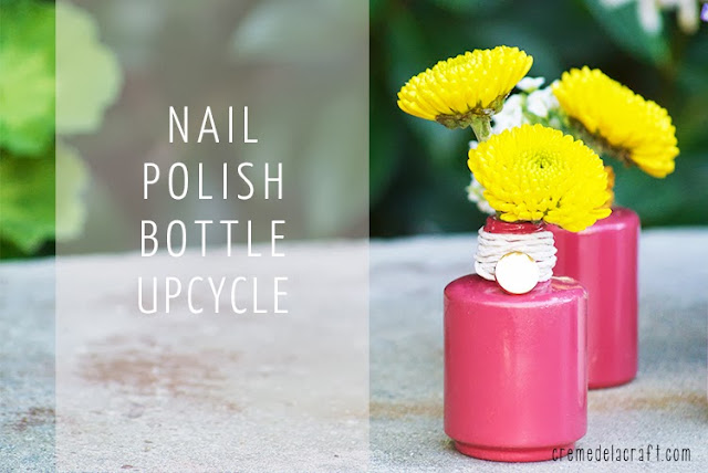 Diy flower bud vases from nail polish bottles for Nail polish diy projects