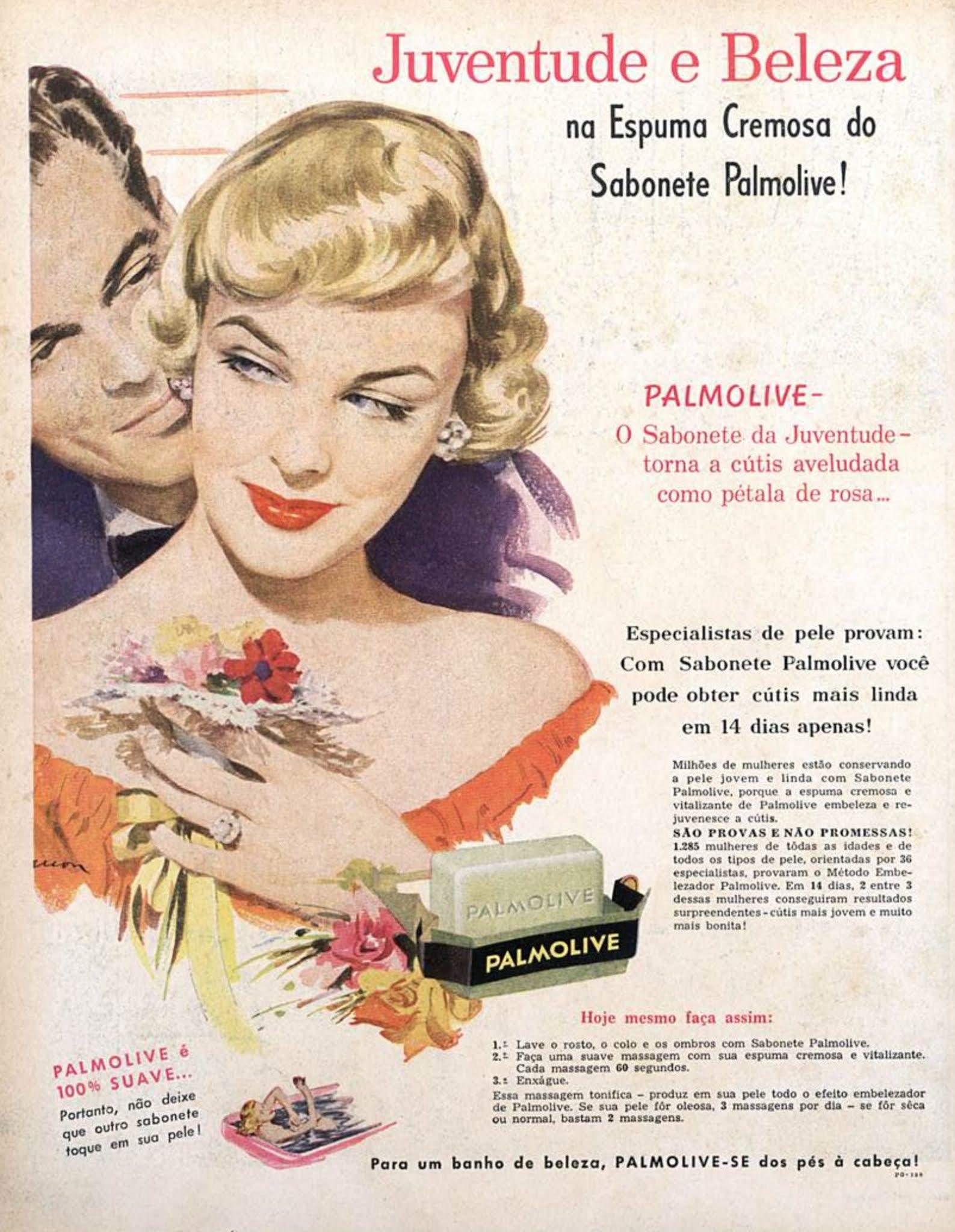 Anúncio antigo da Palmolive promovendo o seu famoso sabonete em 1957