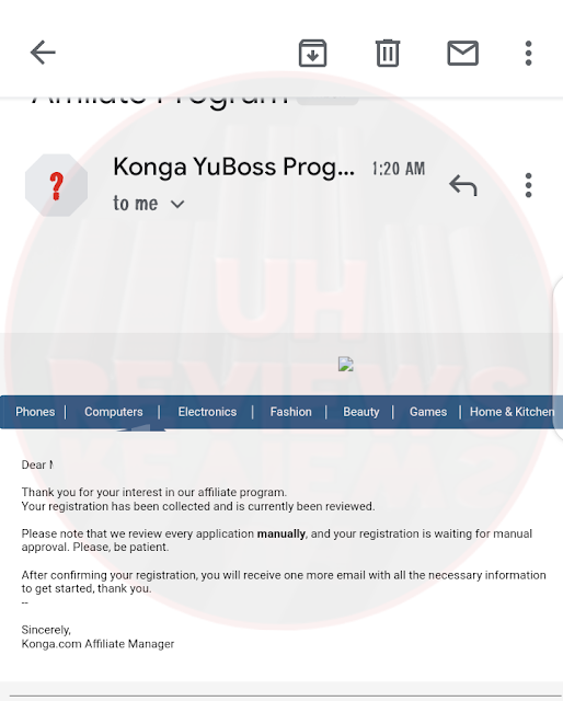 Konga Affiliate marketing Email after Signup. Updatedhost Reviews