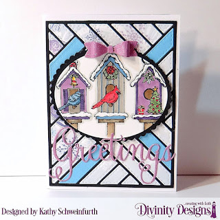 Stamp Set: Christmas Birdhouses Custom Dies: Christmas Greetings, Mini Bow, Quilted Background, Ovals, Scalloped Ovals Paper Collection: Christmas 2019