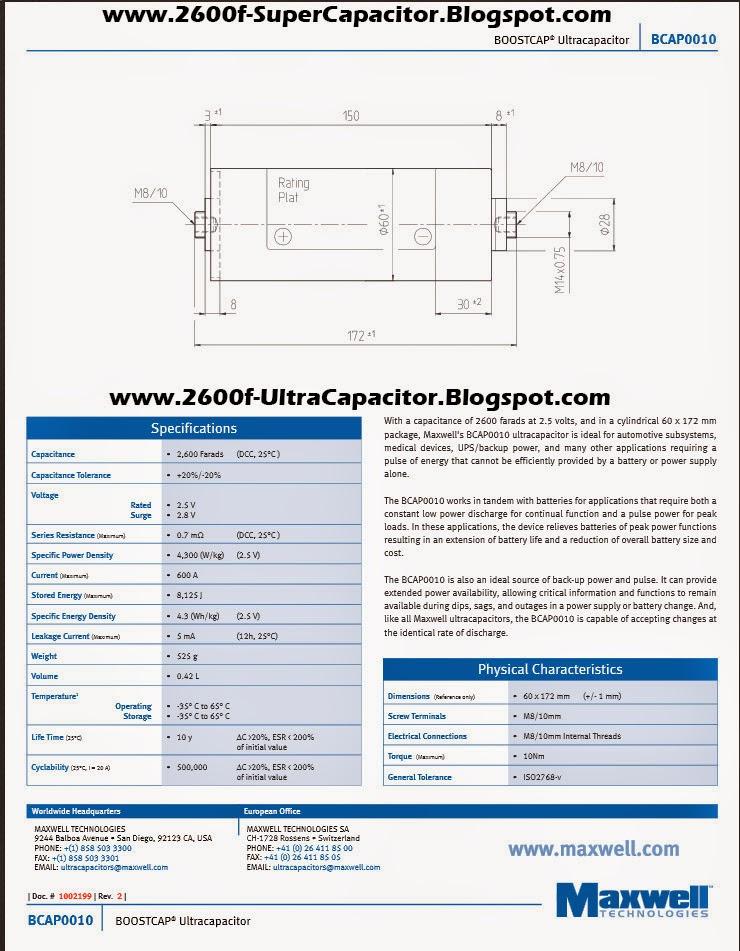 ☈ 2600F Ultracapacitor ☈ : ☈ Ultra Capacitors VS Car Battery ☈