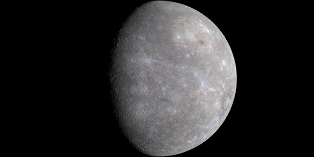 Enhanced-color image of Mercury from first MESSENGER flyby. Credit: NASA/Johns Hopkins University Applied Physics Laboratory/Carnegie Institution of Washington