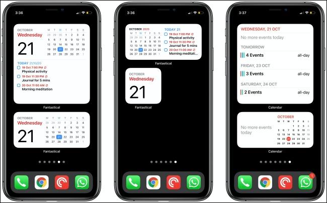 أدوات رائعة وتقويم على ثلاثة أجهزة iPhone.