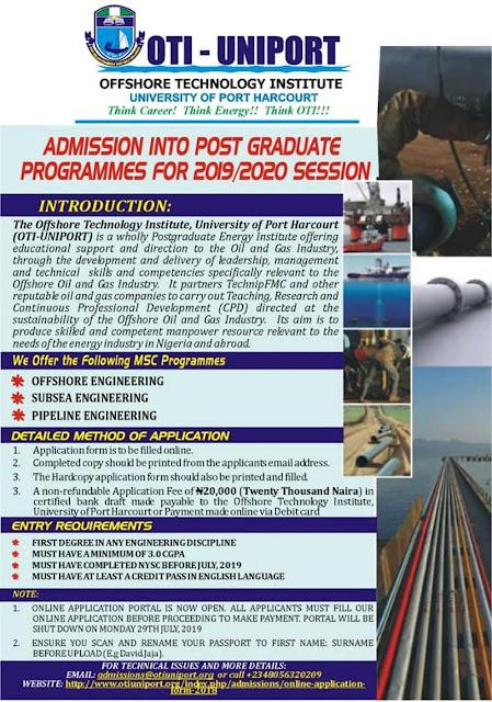 OTI-UNIPORT Postgraduate Admission Form 2019/2020 Session