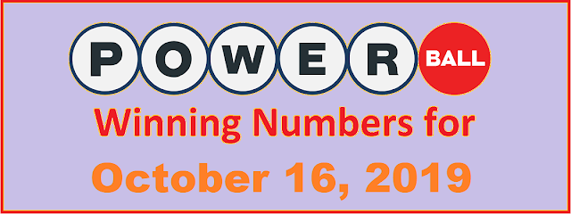 PowerBall Winning Numbers for Wednesday, October 16, 2019