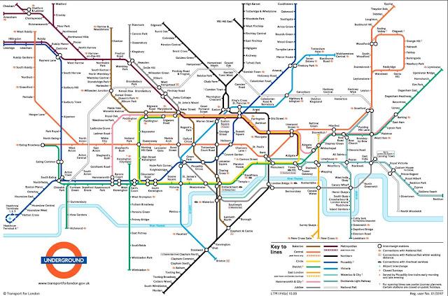 خريطة مترو انفاق لندن London Underground Map