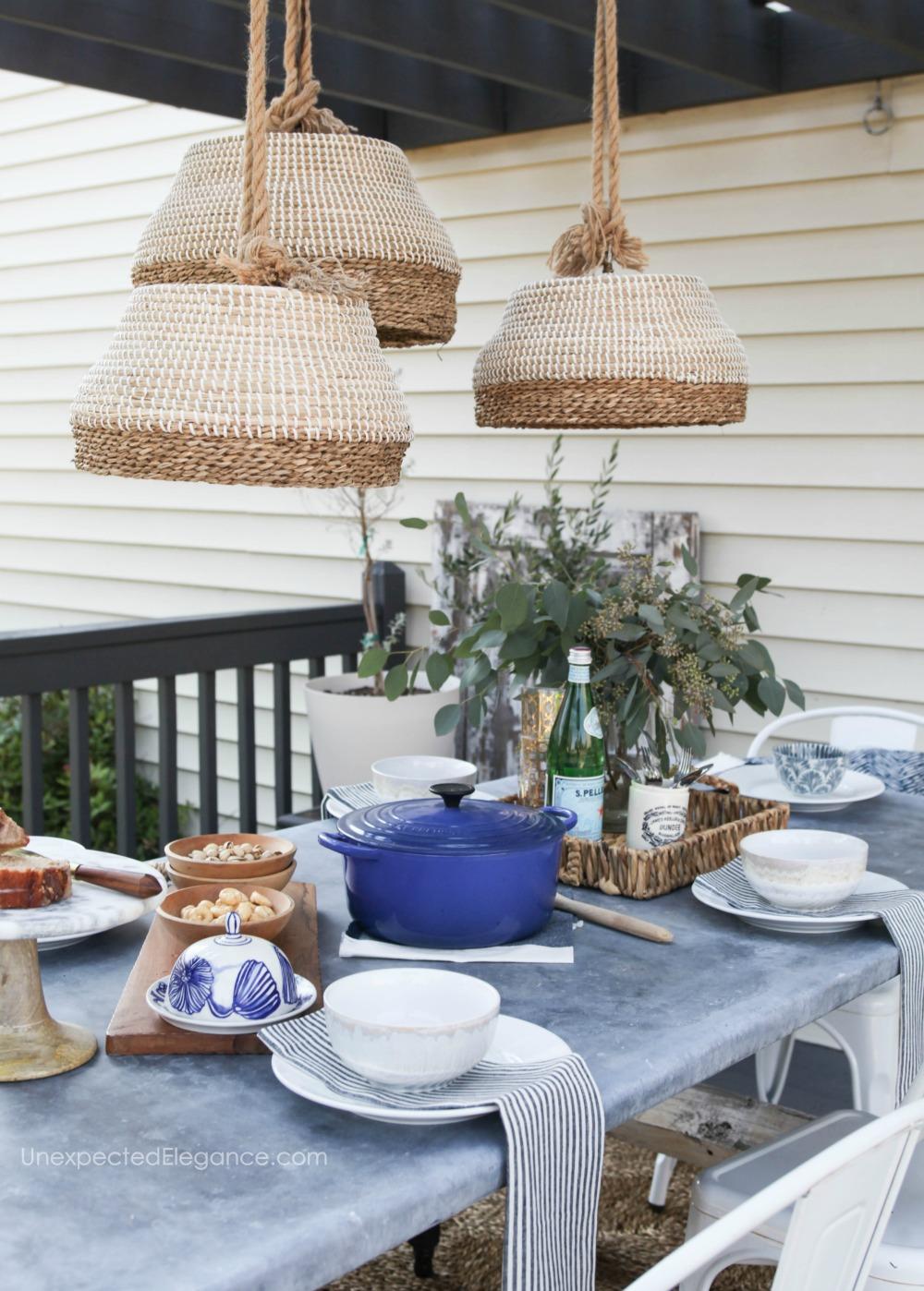 triple DIY outdoor basket lights