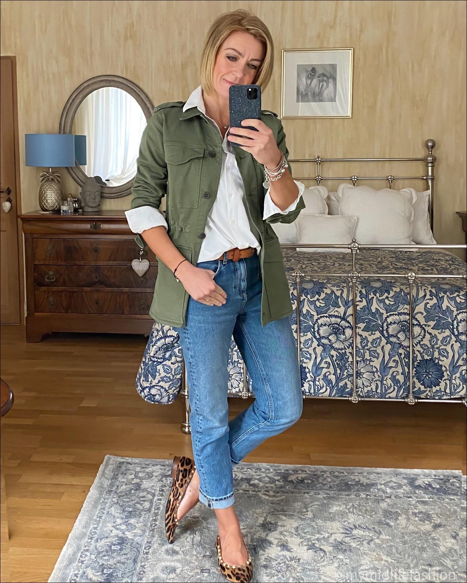 my midlife fashion, baukjen drake organic utility jacket, baukjen heather organic shirt, Massimo Dutti leather belt, zara straight leg jeans, leopard print studded ballet pumps